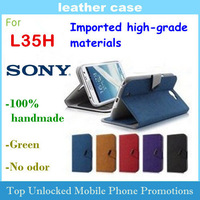 Leather Case for SONY Xperia ZL L35H Imported high-grade materials 100% handmade Free shipping