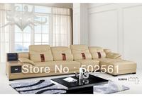 2014 new modern genuine leather corner sofa European American style living room furniture 1+3+chaise