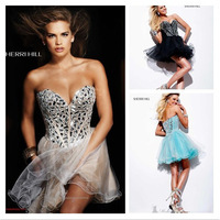 Hot Sell A-line Short Cocktail Dress Strapless Sequined Sweetheart Beaded Organza Prom  Party Dress Above Knee Mini Dress B132