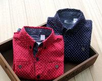 2014  spring new designer 6pcs/lot  boy Cotton double fold eyelid fake pocket wavelet point boy blouses Hit color ed ge