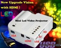 Cheapest Protable Pocket Mini Game Digital LED VGA Video Projector support 1080P,Max 80Lumens with HDMI VGA, AV, USB, SD Ports