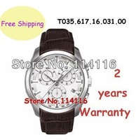 New Sapphire Glass Brown Leather ETA Swiss Quartz Movement Men's Chronograph Watch T035.617.16.031.00 T035 + Original Box