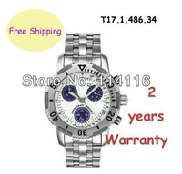 New T17.1.486.34 Multifunctional Quartz Mens Watch T17 White Dial Swiss Movement T17148634 Wristwatch + Original Box