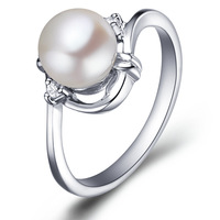 Free shipping genuine 925 sterling silver natural pearl ring SR0002PLrings for women
