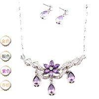 Neoglory accessories crystal diamond wedding dress formal dress chain sets earrings necklace set 3