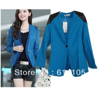 Free Shipping Spring 2014 Women Blazers Fashion Brand Spliced Leather Jacket,Lady Long Sleeve Solid Suits Jackets Women