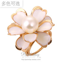 White pearl camellia cc ol silk scarf buckle ring trinuclear buckle female cape buckle