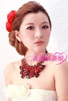 Sparkling red big gem necklace the bride wedding dress formal dress accessories