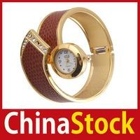 [China Stock] Women Fashion Snake Skin Bangle Cuff Bracelet Wrist Watch Black and Red #49 wholesale
