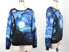 HOT 2013 Fashion 3D Galaxy  Starry Night Hoodies Pullover Hoody Sweatshirt Digital Printing Plus Size Sweater For Women S117-357(China (Mainland))