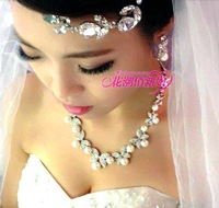 2013 midie sparkling diamond pearl rhinestone bridal necklace earrings set chain sets wedding accessories