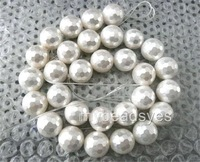 AAA+ Hot White Round South Sea Shell Pearl beads Faceted 8mm F364PE
