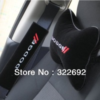 4 x New Arrivals For DODGE Seat Belts Cover Shoulder Pad Cushion (2pcs) + Headrest Neck Pillow (2pcs) - FREE SHIPPING