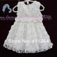 4pcs/lot(0-2Y) baby princess dress infant girls white rose flower dress baby Christening gown for birthday party free shipping