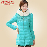2013 winter women's fashion slim medium-long down coat down coat
