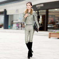 Rencounter 2013 winter slim women's thickening double breasted down coat set