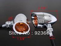 Chrome Metal Bullet Turn Signals for Honda Shadow V-Star Vulcan Cruiser Chopper Harley