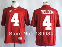 Fast free shipping #4 T.J Yeldon Red White SEC patch Alabama Crimson Tide College Football Jerseys