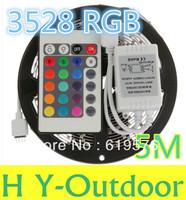 Outdoor 5M 3528 RGB Waterproof Flexible Strip 300 LED Light +24KEY IR controller
