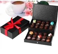 Freeshipping wholesale 30 holes two-layer chocolate gift box with cover ,2 pcs/lot DIY candy package box 2 colors