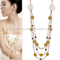 New year gifts! Free shipping high quality 18k gold plated long flower pearl necklace sweater chain
