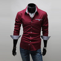 2013 men's clothing business casual fashion modern cotton solid color square collar slim long-sleeve shirt