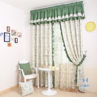 Cloth fresh and elegant bedroom curtain small rustic printed cloth netting