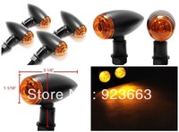 Black Bullet LED Turn Signals For Harley Dyna Softail Bobber Chopper Sportster
