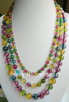 "design Christmas   Noblest Multicolor 6-10mm 3row Tourmaline Necklace 17-19""  fashion jewelry"