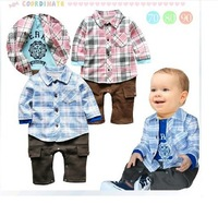 Free Shipping 2013 Baby boy plaid style leotard Romper