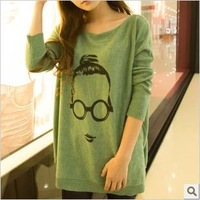 Fat or thin can Hitz Korean version of the long section angora printing head cute girls big yards ladies knitwear-ST97