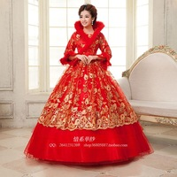 2013 bride cotton wedding dress red thickening thermal long-sleeve wedding dress beautiful decoration lace bride dress