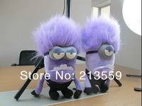 Free Shipping 2013 New 3D EYES 2 Style DESPICABLE ME 2 PURPLE EVIL MINION PLUSH DOLL 11 inch #1 Retail