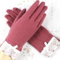 Wool gloves women's winter lace decoration thermal yarn finger gloves d5