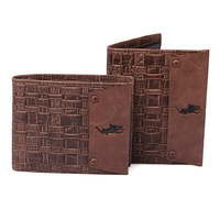 Calf skin relief Emboss short design male wallet vertical