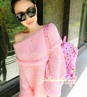 Handmade stick charming knitted strapless slit neckline  loose sweater 7 color cheap for women's sweater
