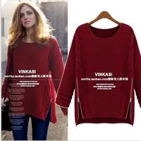 Hot sale Fashion 2014 Women New Long Sleeve Pullovers celebrity style winter Zipper knitwear Sweater Cheapest