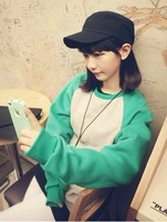 A small fresh preppystyle multicolour fashion color block decoration long-sleeve sweatshirt