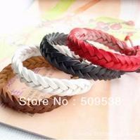 Knitted PU Leather Bracelets 6 Color-Mix Handmade Rope Women men Bracelets Charm Bracelet 40pcs/lot