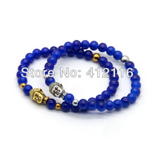 Promotion Cheap Fine Jewelry 2013 New Women's Men's  Beaded Buddha Blue Stone Bracelets Wholesale Jewelry  Yoga Mala