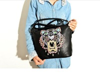 Free shipping!New 2013 Autumn Pu Leathe Fashion Tiger  Embroidery Designer  Women Handbag Shoulder Bag