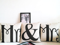 """Kim Store! Mr & Mrs Couples Wedding Gift, Bedroom Decorative Cushion Throw Pillows for Sofa, Cushion Covers 17""""*17"""" (only cover)"""