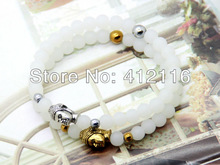 2013 New Women's Men's  Beaded White Stone Beads Buddha Bracelets Wholesale Gold and silver colors Really Cheap Fine Jewlry