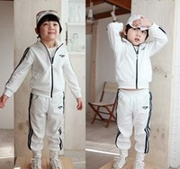 Factory Clear Stock Children Clothing  Spring Fall White Colour Baby Kids Tracksuit Boys Girls Casual Sport Set QZ192