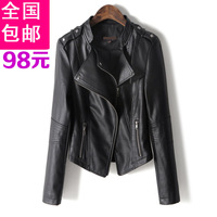 Leather clothing female short design slim autumn coat motorcycle leather jacket female long-sleeve