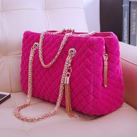 New Arrival 2013 Autumn Fashion Tassel Woolen Big Bag Women's Handbag plaid chain one shoulder bag handbag messenger bag