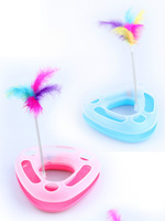 Cat Crazy Fun Circle & ball mouse new Kitten pet toy with spring feather head 3colors