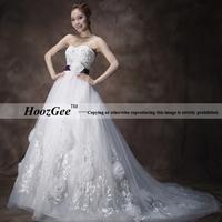 2014 new arrival in stock korea feelings sequins sweetheart empire royal train flowers style wedding dress HoozGee 23742