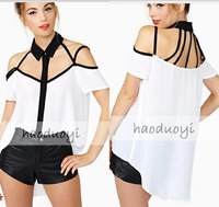 Womens Show Shoulder Strap Chiffon Blouse turn-down collar with black and white Patchwork for free shipping