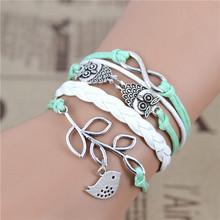 New Fashion infinity  OWL  Olive branch  bracelet,Imitation pearl,sky green bracelet, woven leather bracelet .best gift IB506
